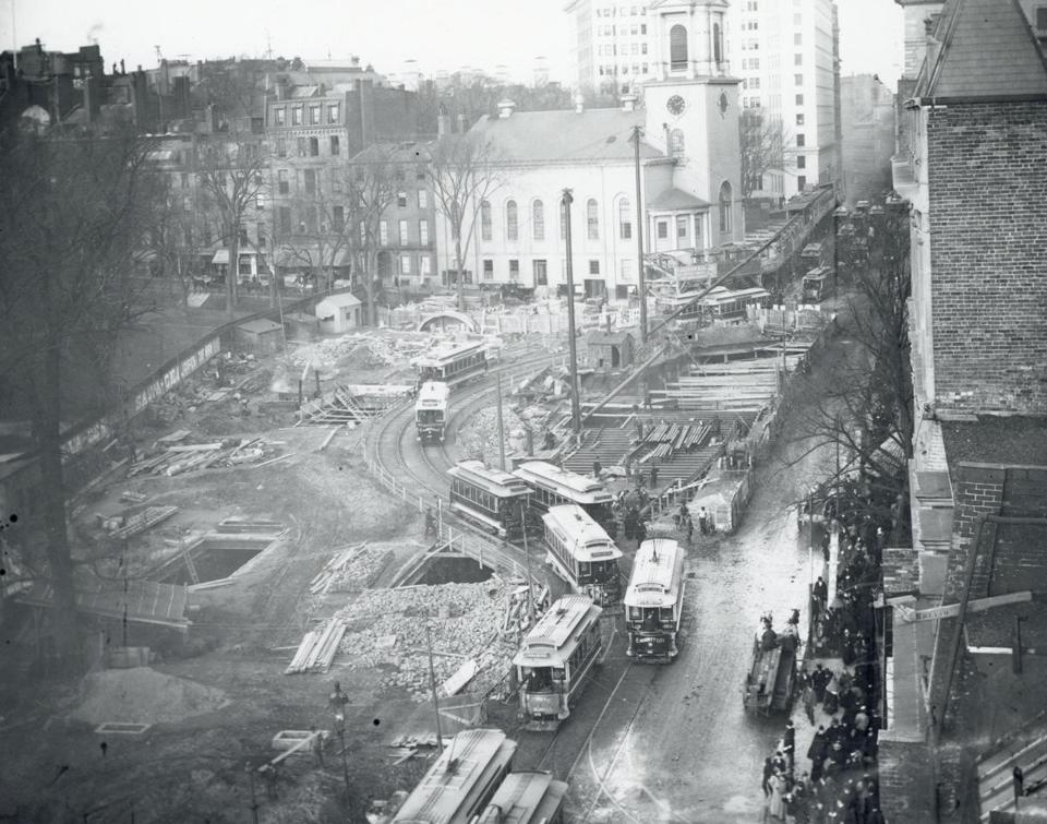 Construction at Tremont and Park Streets in November 1896.
